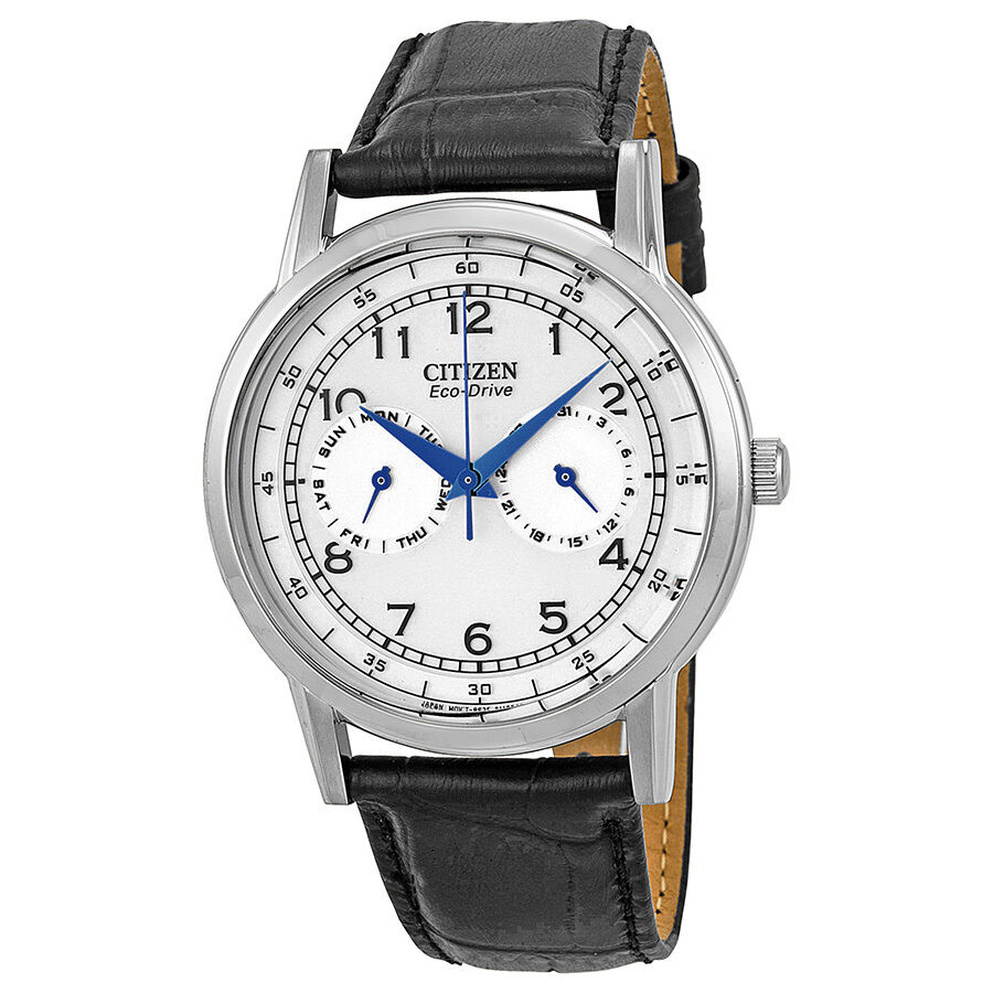 Citizen eco drive stainless steel black leather mens watch for Citizen eco dive
