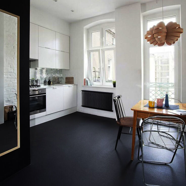Black Vinyl Kitchen Flooring: Brand New Quality PLAIN BLACK Natural Non Slip Vinyl Flooring - 2M - 4M Widths