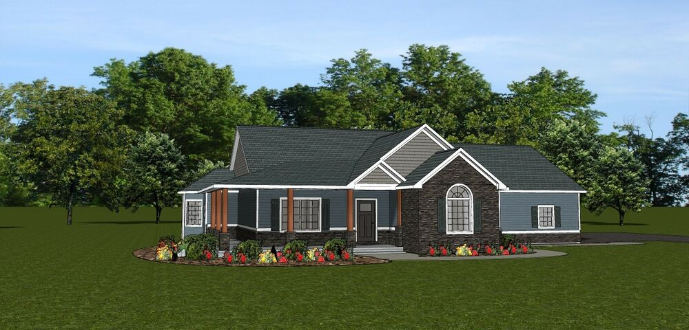 Custom home house plan 1 875 sf ranch w basement 3 car House plans with garage in basement