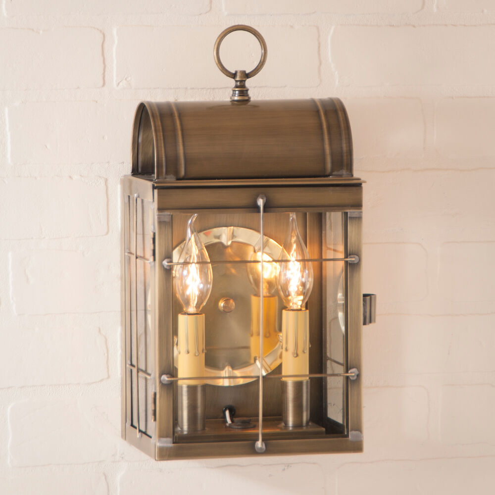 Wall Lantern Indoor : Weathered BRASS WALL LIGHT Dual Candle Lantern Indoor Outdoor Colonial Sconce eBay