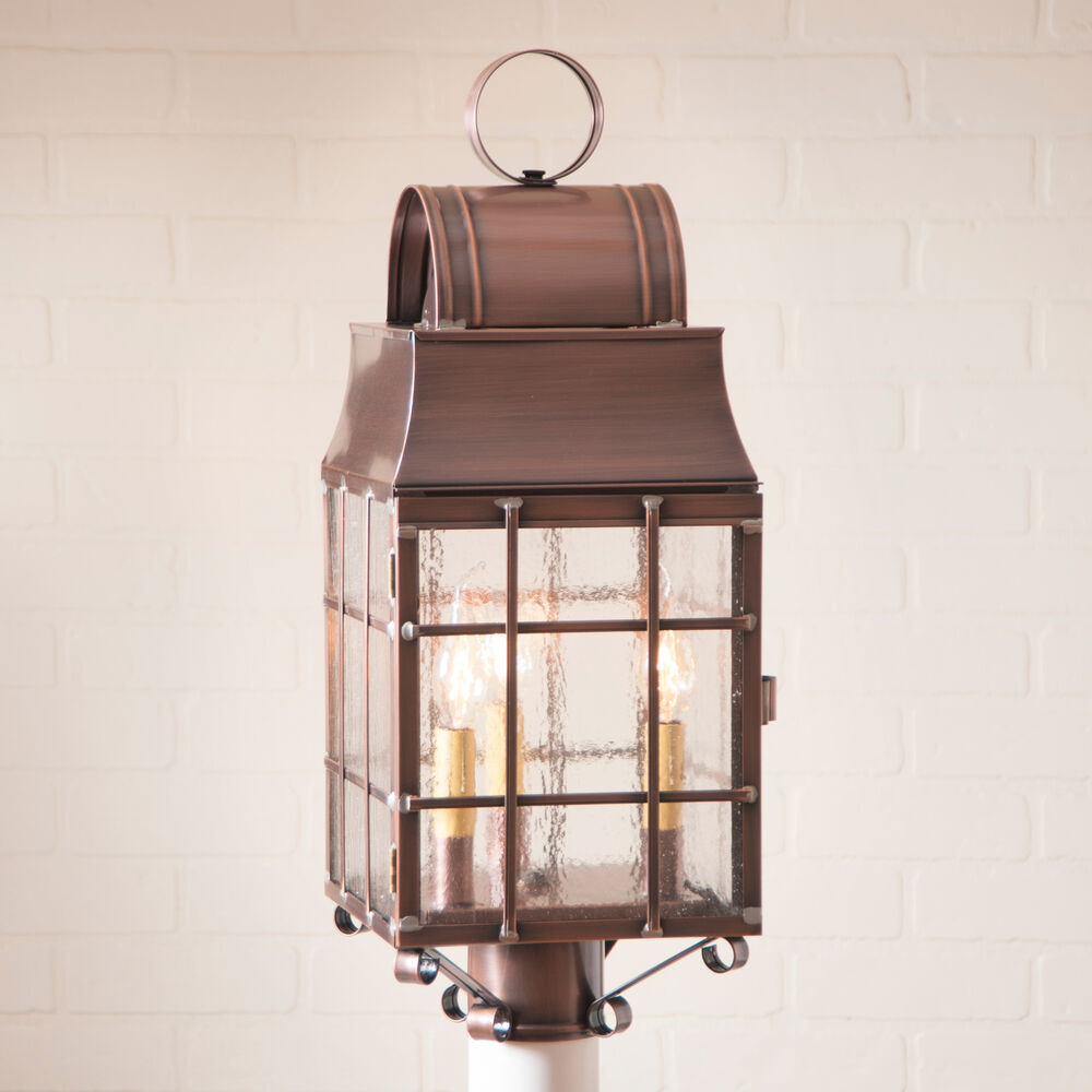 Large Rustic Copper Outdoor Post Light Classic Colonial Lantern Handmade Bars Ebay