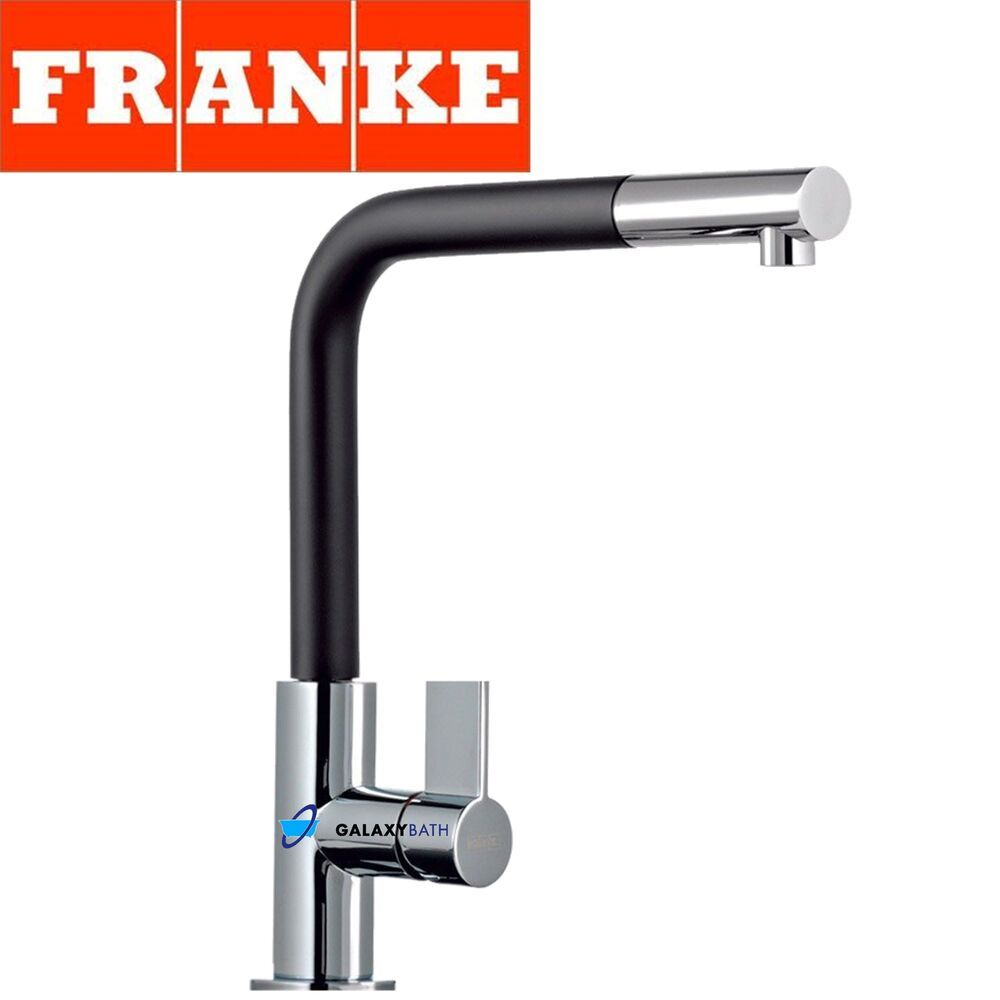 FRANKE NEPTUNE CHROME BLACK KITCHEN SINK MODERN TAP SINGLE LEVER PULL ...