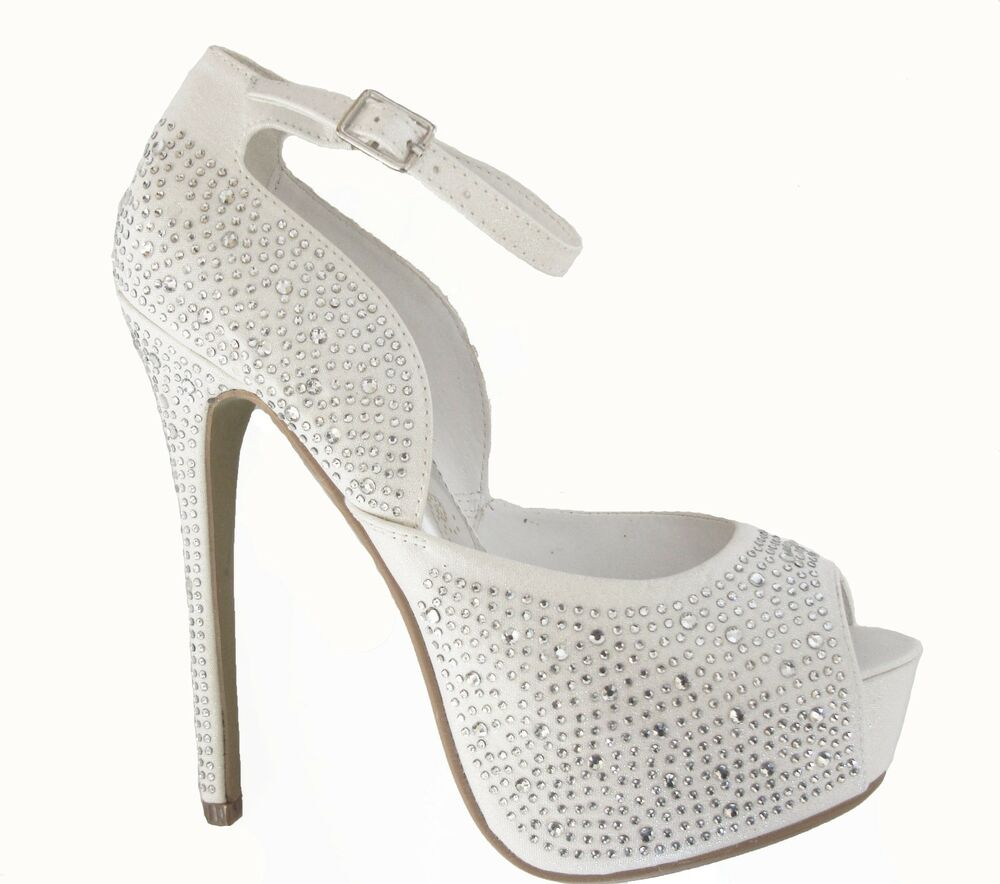 White Rhinestone Peep Toe Hidden Platform Bridal Wedding