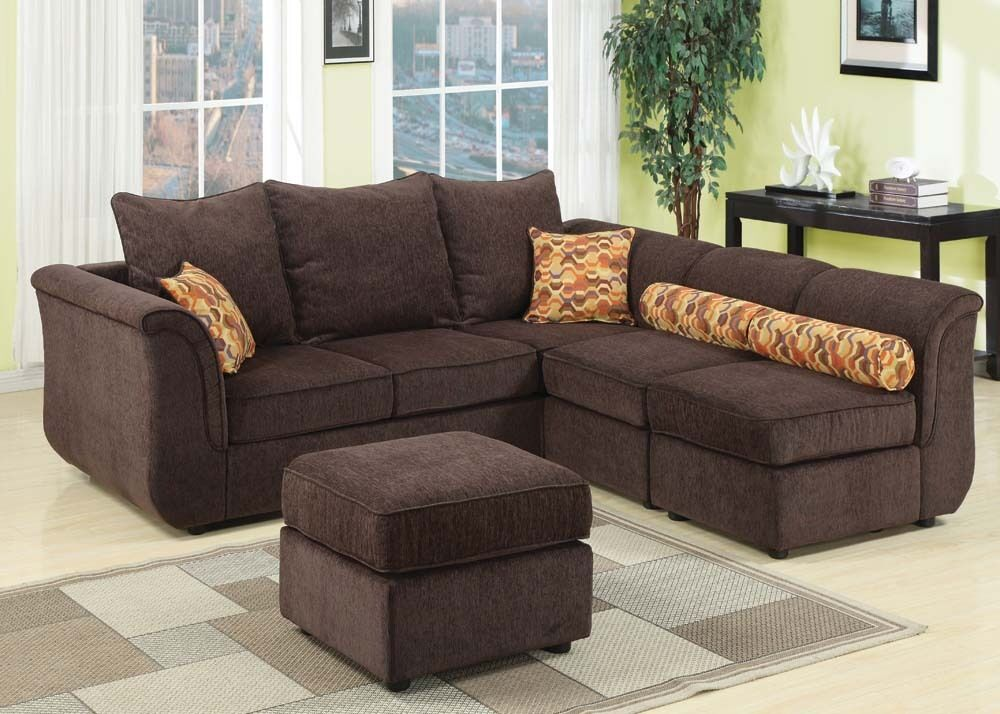 chenille sectional sofa with ottoman couch for living room furniture