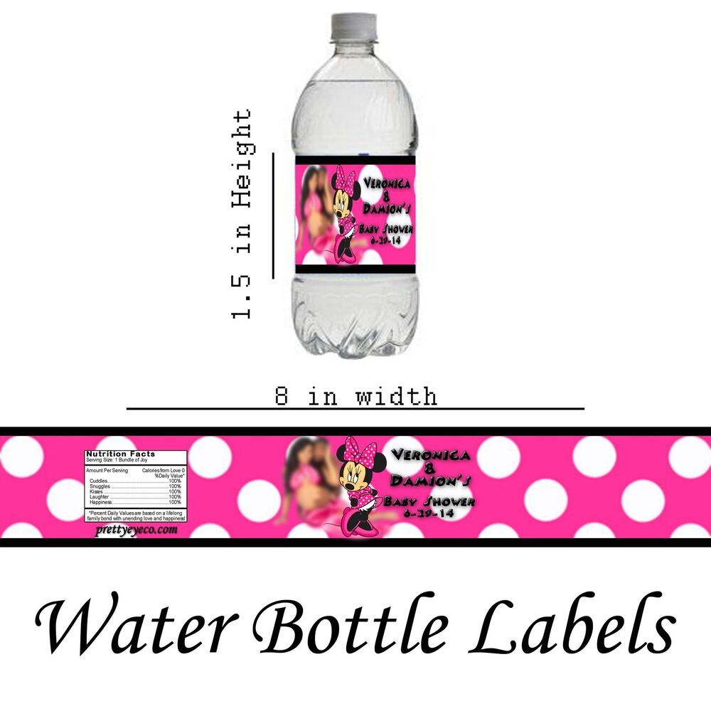 14 Personalized Minnie Mouse Water Bottle Labels Party
