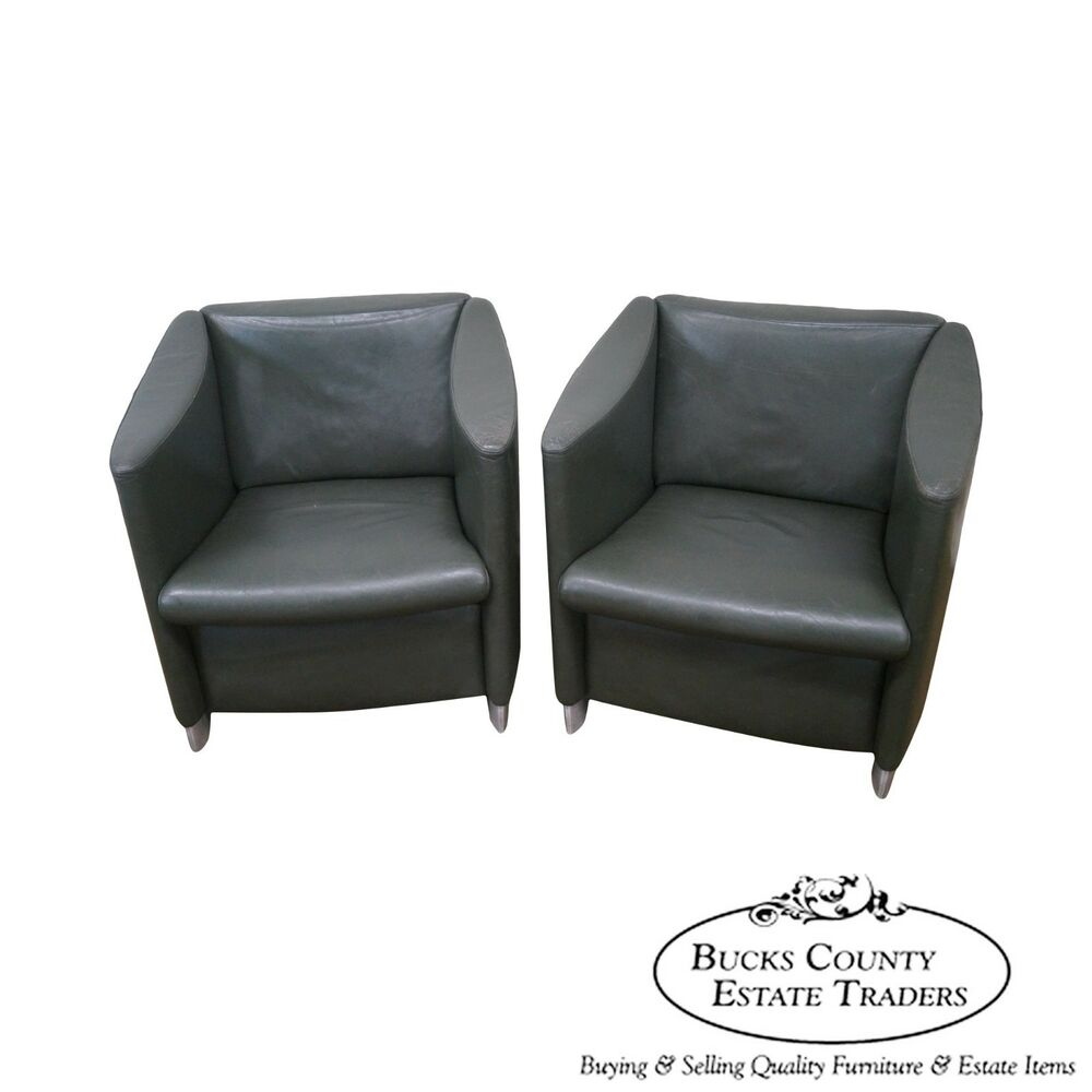 Davis mid century modern style pair of leather lounge club for Mid century modern leather chairs