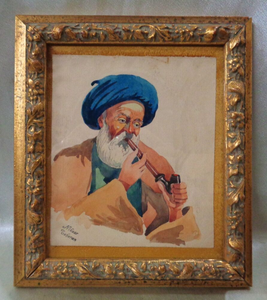 Vintage Style Paintings Signed 1950's Persian ...