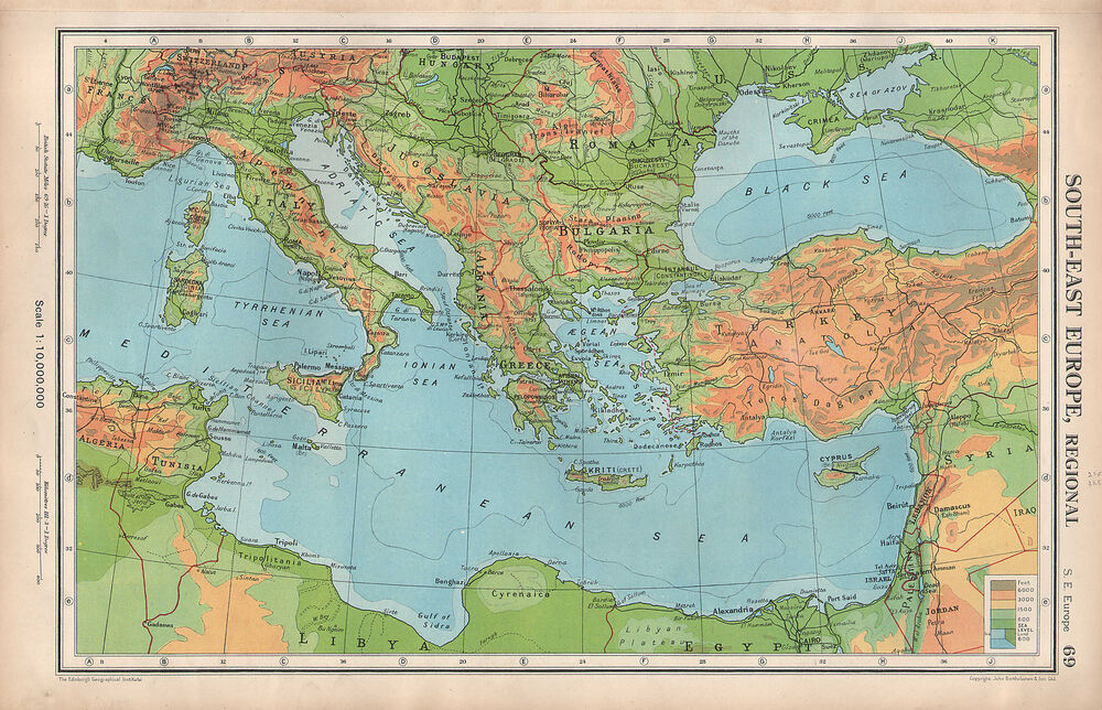 South East Europe Physical Map on Italy Physical Map