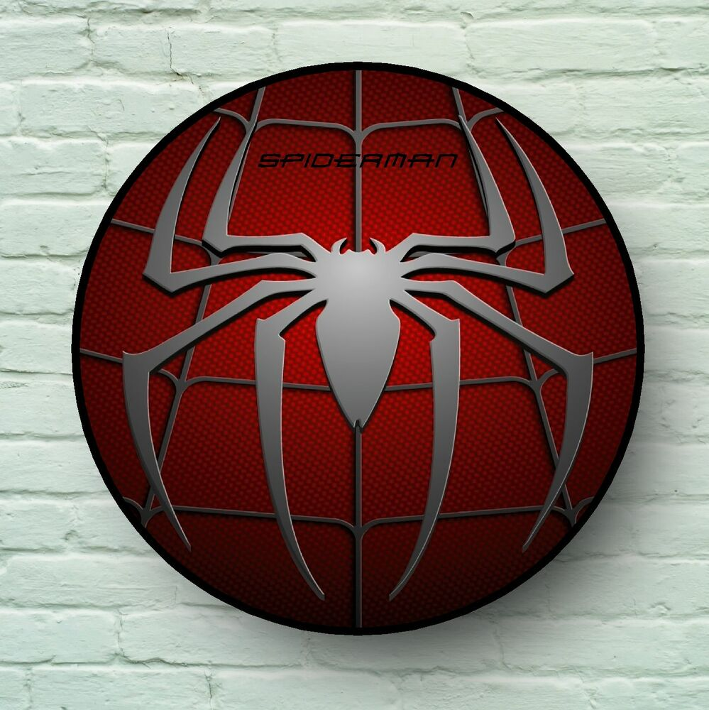 Large Spiderman Logo Picture Plaque Kids Room Usa Retro