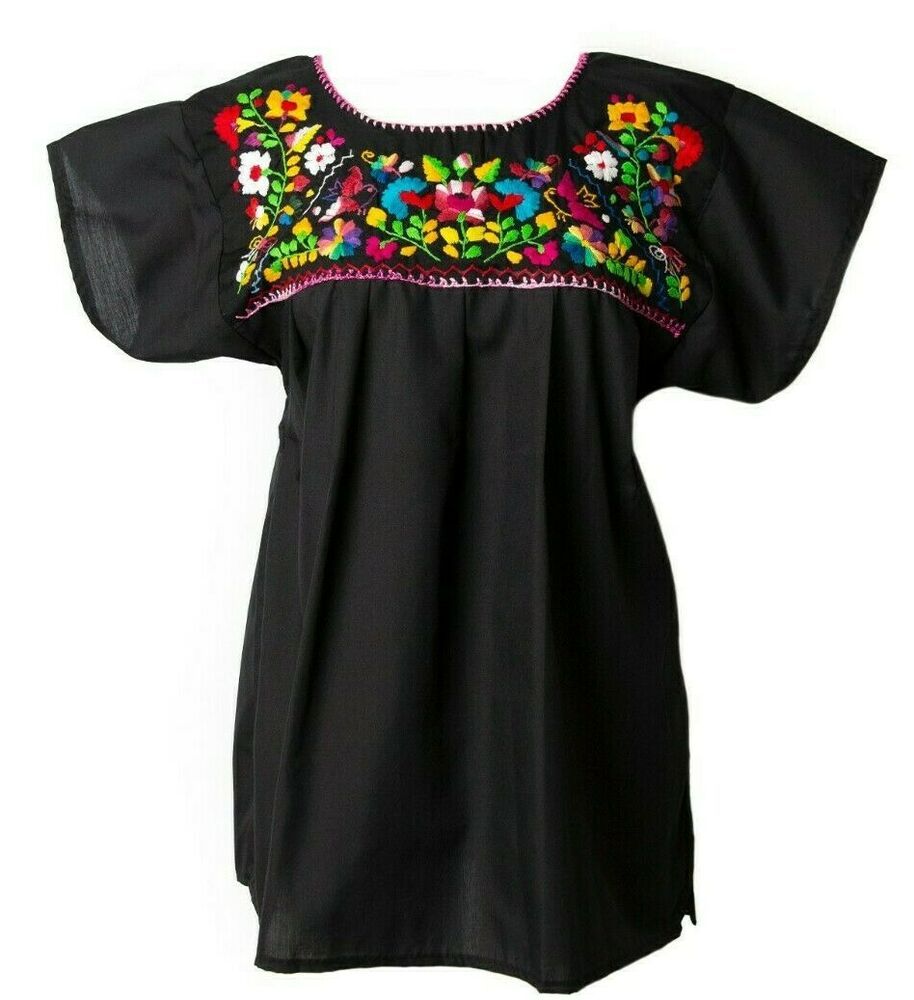 Any color embroidered mexican blouse floral pueblo women