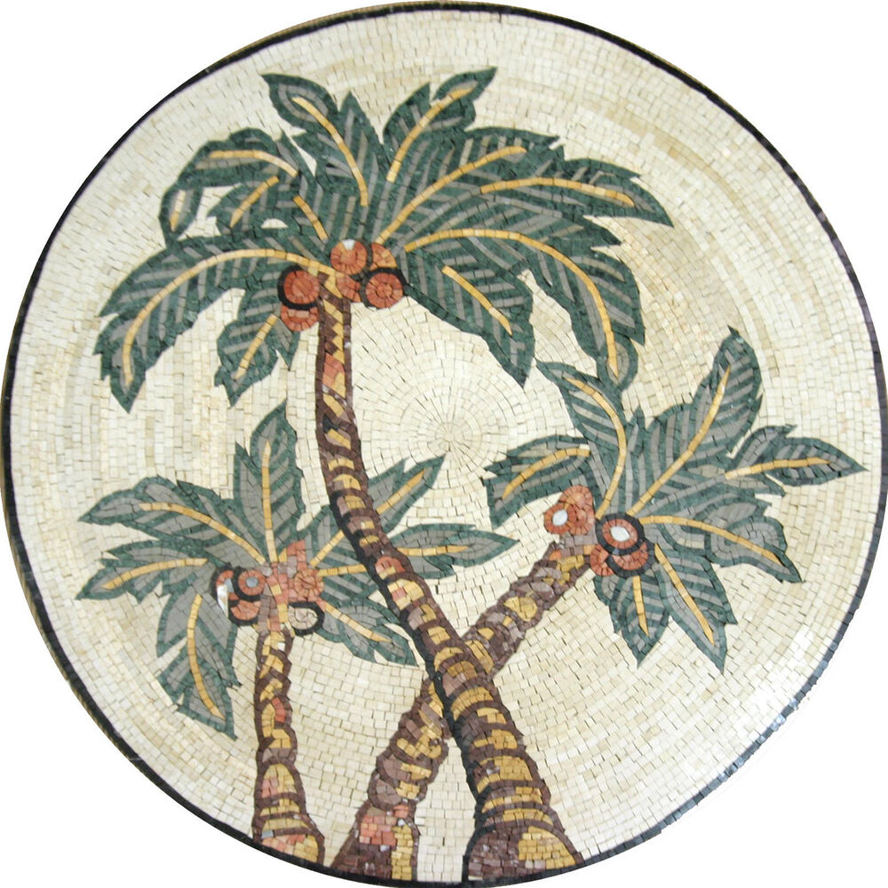 Palm Tree Desert Decor Round Medallion Tile Marble Mosaic