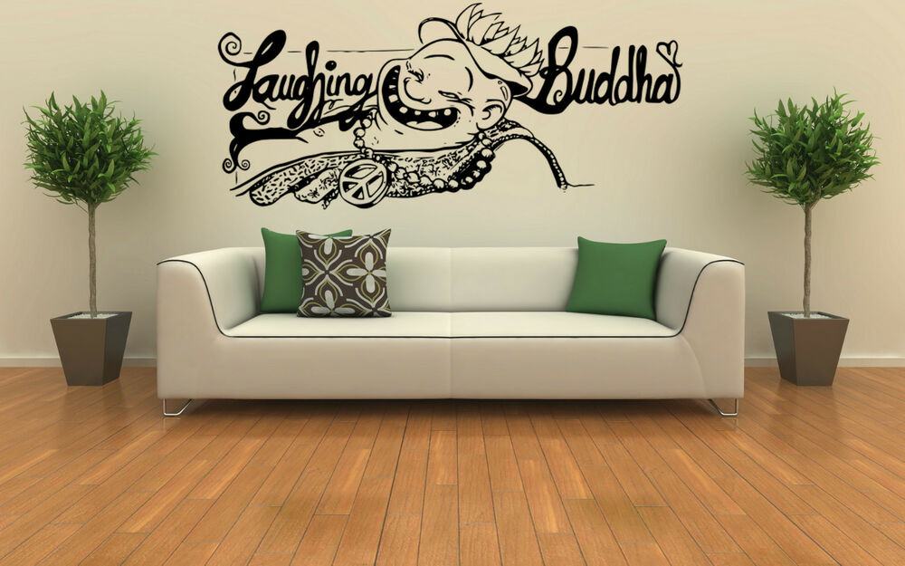 Laughing buddha wall art vinyl decal sticker home for Buddha decorations for the home uk
