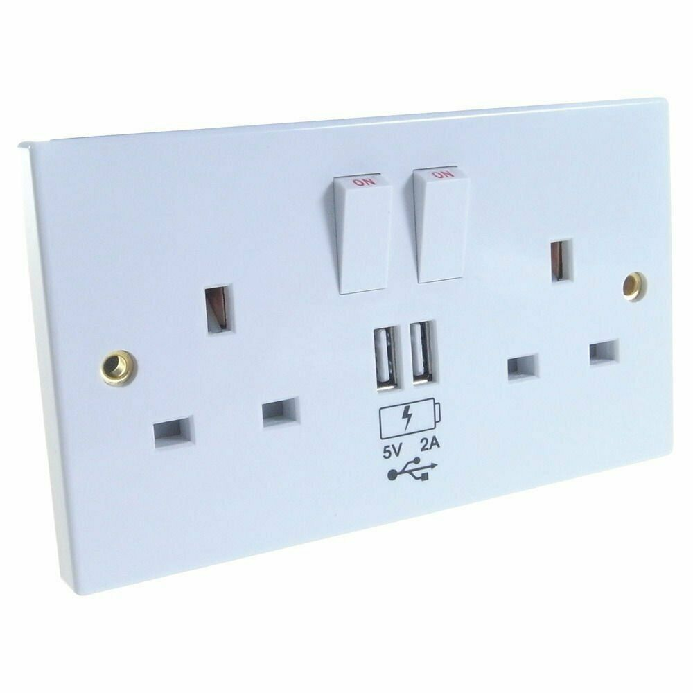 white usb double socket 13a with twin usb outlets 2amp. Black Bedroom Furniture Sets. Home Design Ideas