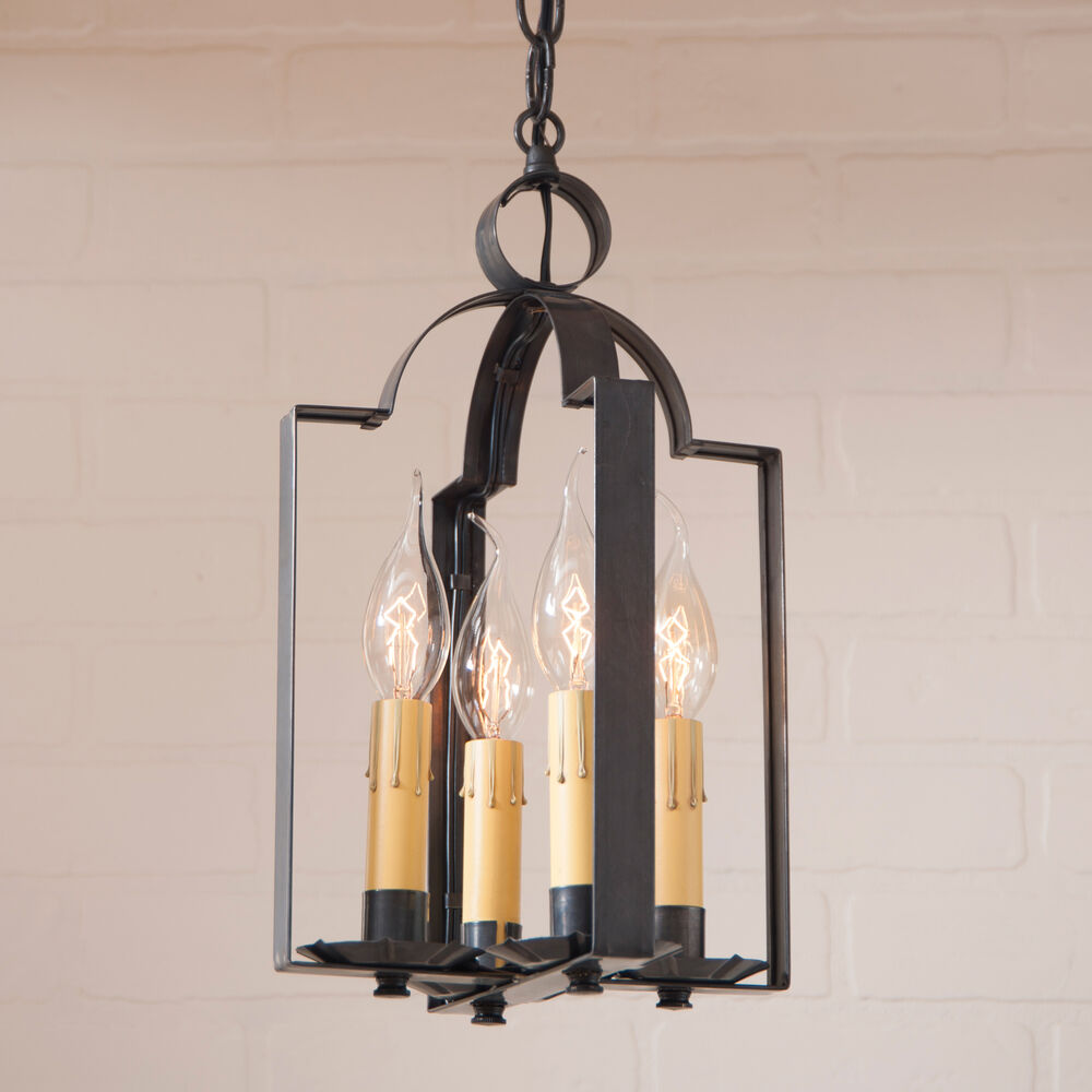 4 candle tin pendant light saddle blackened tin