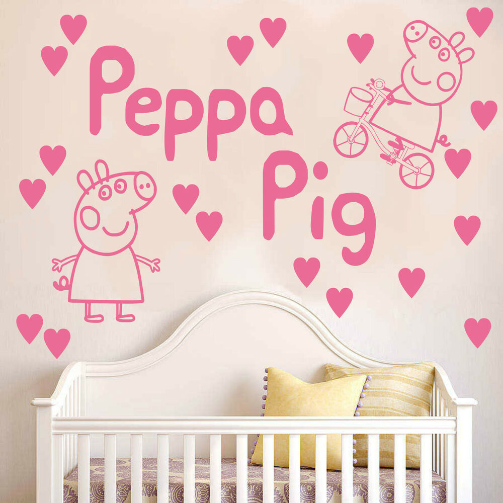 Peppa pig wall sticker decal kit hearts kids bedroom bicycle peppa pig wall sticker decal kit hearts kids bedroom bicycle vinyl art k5 ebay amipublicfo Images