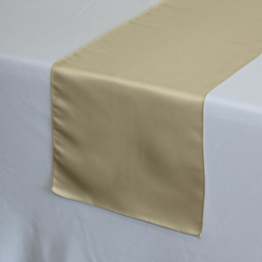 14 x 108 inch l 39 amour satin table runners champagne ebay for 108 inch table runners