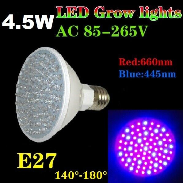 4 5w 80 led grow pflanzen lampe plant light wuchs bl te 140 full spectrum e27 ebay. Black Bedroom Furniture Sets. Home Design Ideas