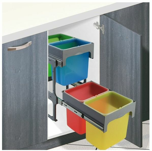 Kitchen Cabinet Waste Bins: Kitchen Cabinet Unit Pull-out Recycling Waste Bin 64L