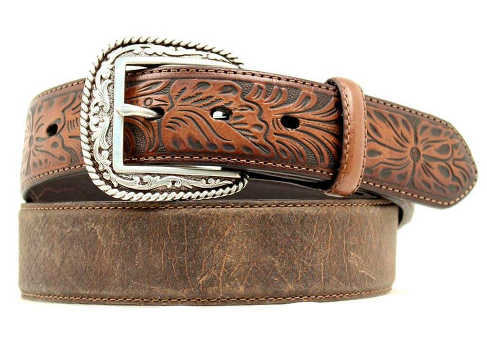 Ariat Western Mens Belt Tooled Leather Distressed Brown