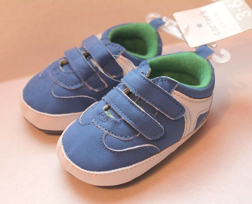 Carter Infant Baby Boy Blue White Crib Shoes