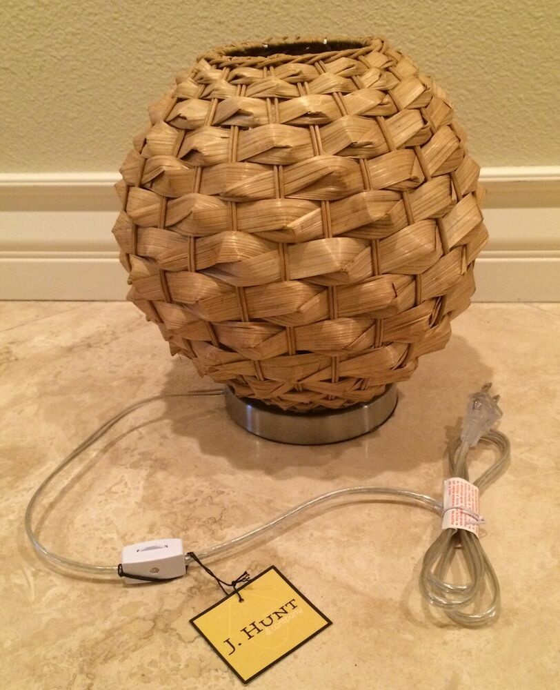 Brass Pineapple Table Lamp HUNT Natural Finish Rattan Table Accent Globe Lamp Silver Finish ...
