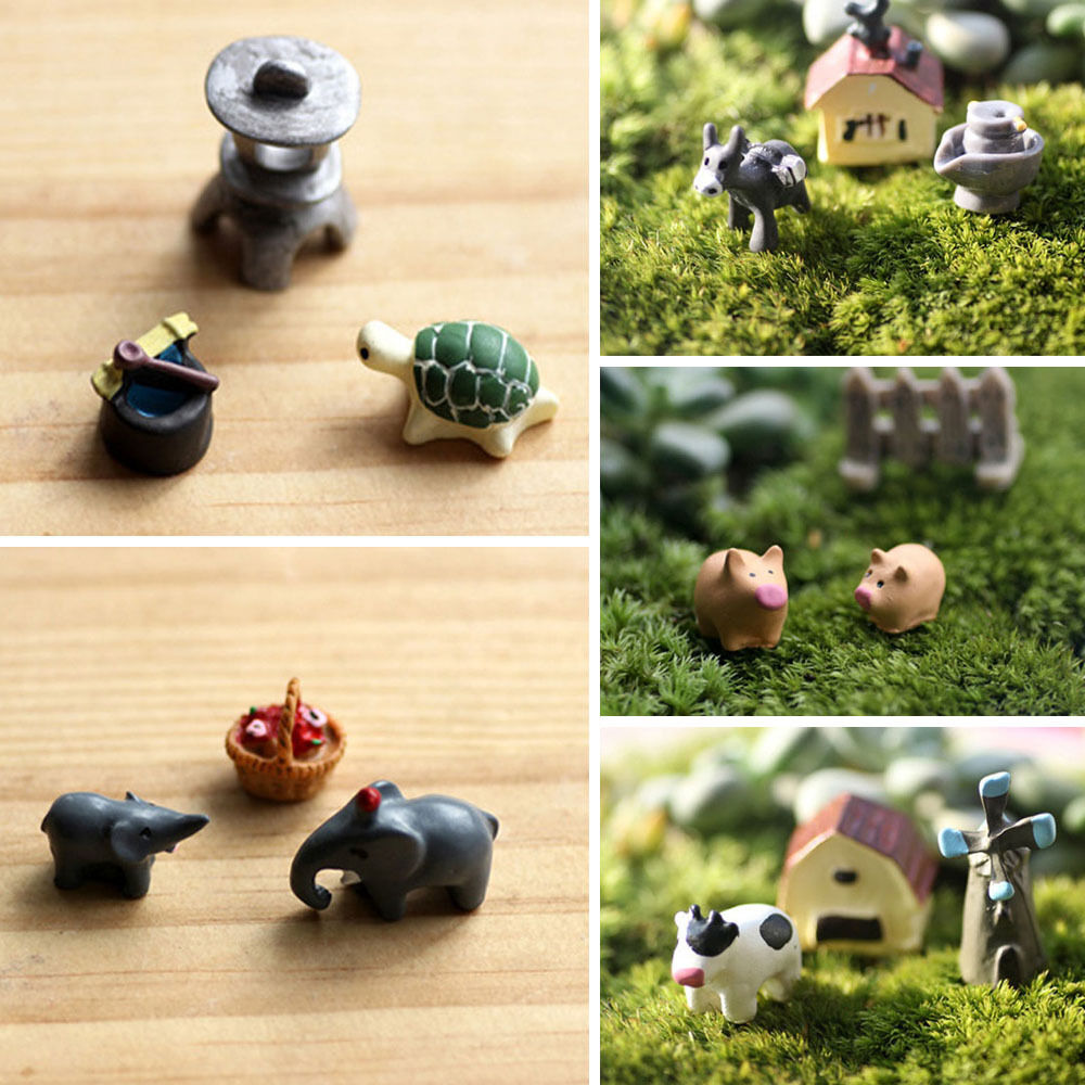 Miniature animal dollhouse ornament flower pot plant for Landscape decor