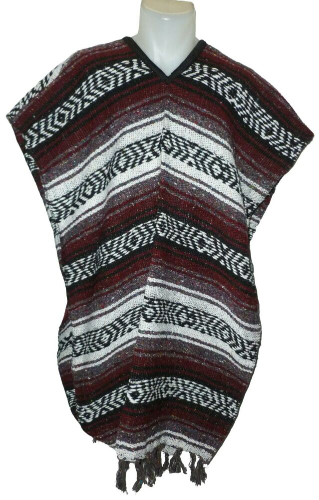 Traditional Mexican Poncho - BURGUNDY ONE SIZE FITS ALL ...