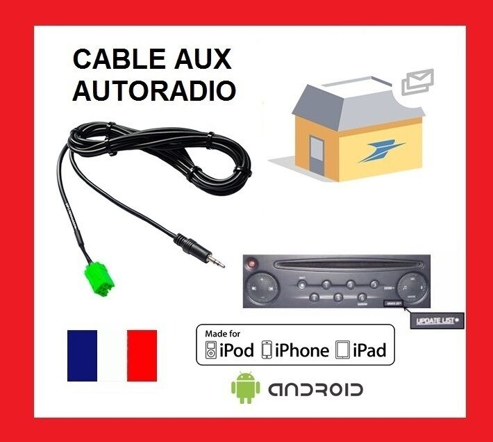 cable aux auxiliaire mp3 autoradio renault udapte list 6 pin clio scenic kango1 ebay. Black Bedroom Furniture Sets. Home Design Ideas