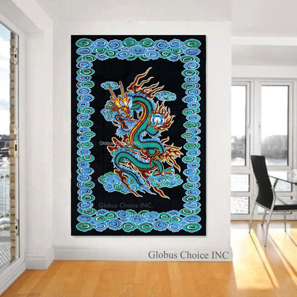 Wall decor hippie : Dragon spl tapestry hippie wall hanging indian throw