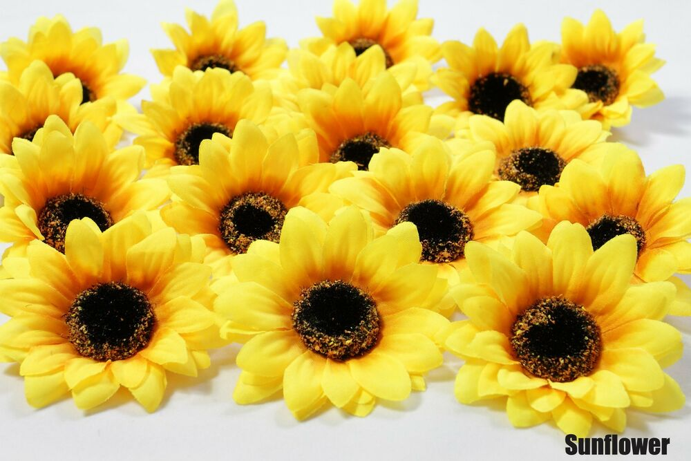 25X Sunflowers Daisy 3 inch Artificial Silk Flower Heads Wholesale Lots