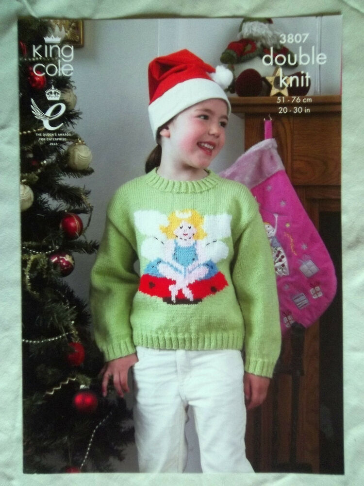 King Cole Christmas DK Knitting pattern Childs Jumper 20-30