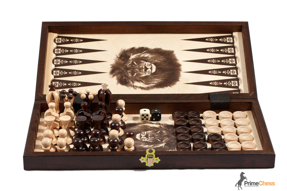 The kingdom wooden chess backgammon draughts set 35cm for Hand crafted chess set