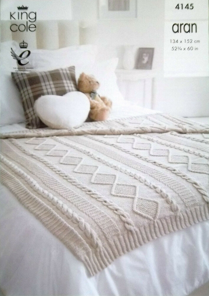 Aran Knitting Patterns For Throws : King Cole Aran Knitting pattern Cable Throw Blanket 4145 eBay