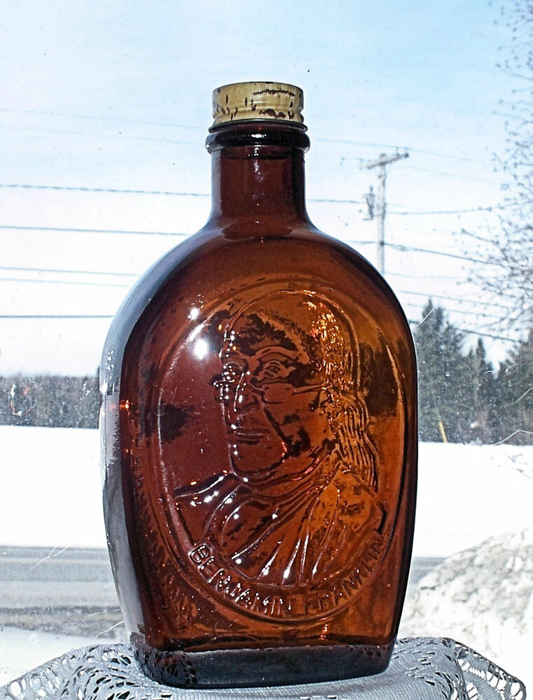 ☆vintage amber log cabin syrup bottle benjamin franklin