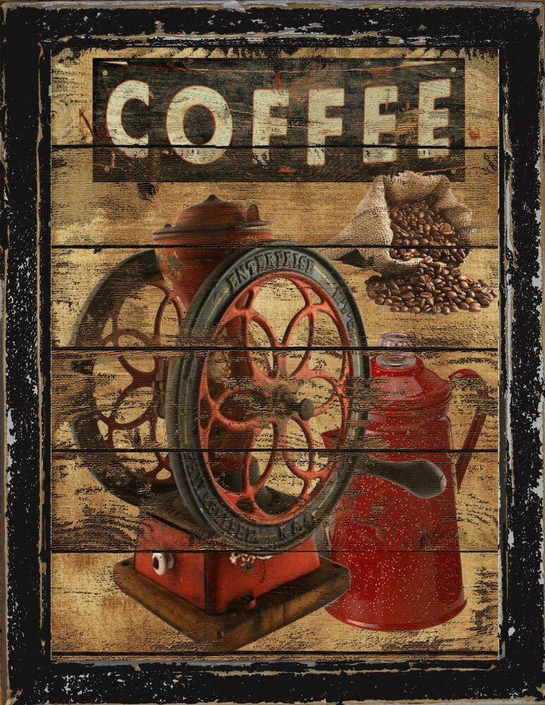 Primitive french country home decor coffee wall art sign for Country wall art