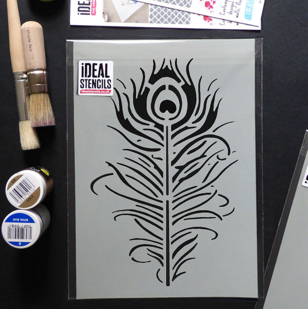 Bohemian Feather Wall Stencil Reusable Stencils For Home: Peacock Feather Quill Stencil Ideal Home Wall Décor