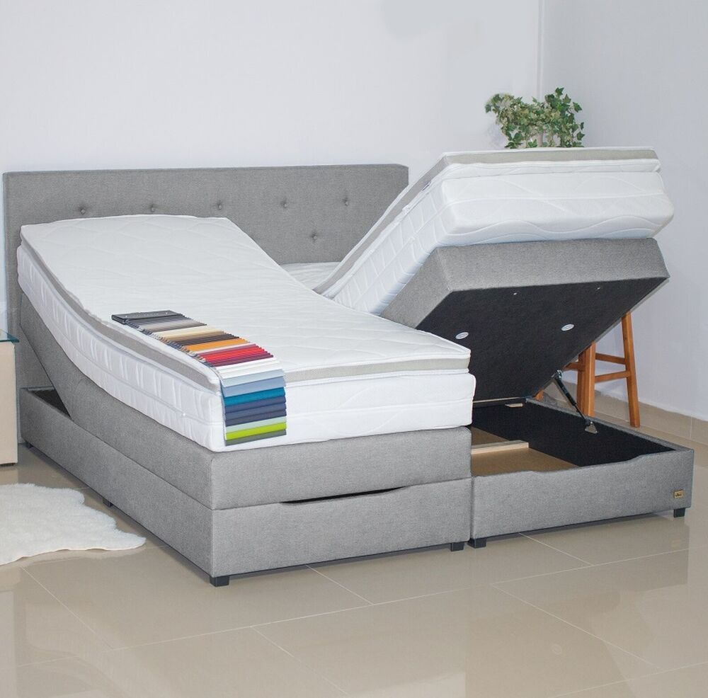 boxspringbett neu mit bettkasten polsterbett 180x200. Black Bedroom Furniture Sets. Home Design Ideas