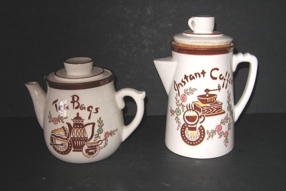 Vintage Ceramic TILSO Tea Bag and Instant Coffee Canisters