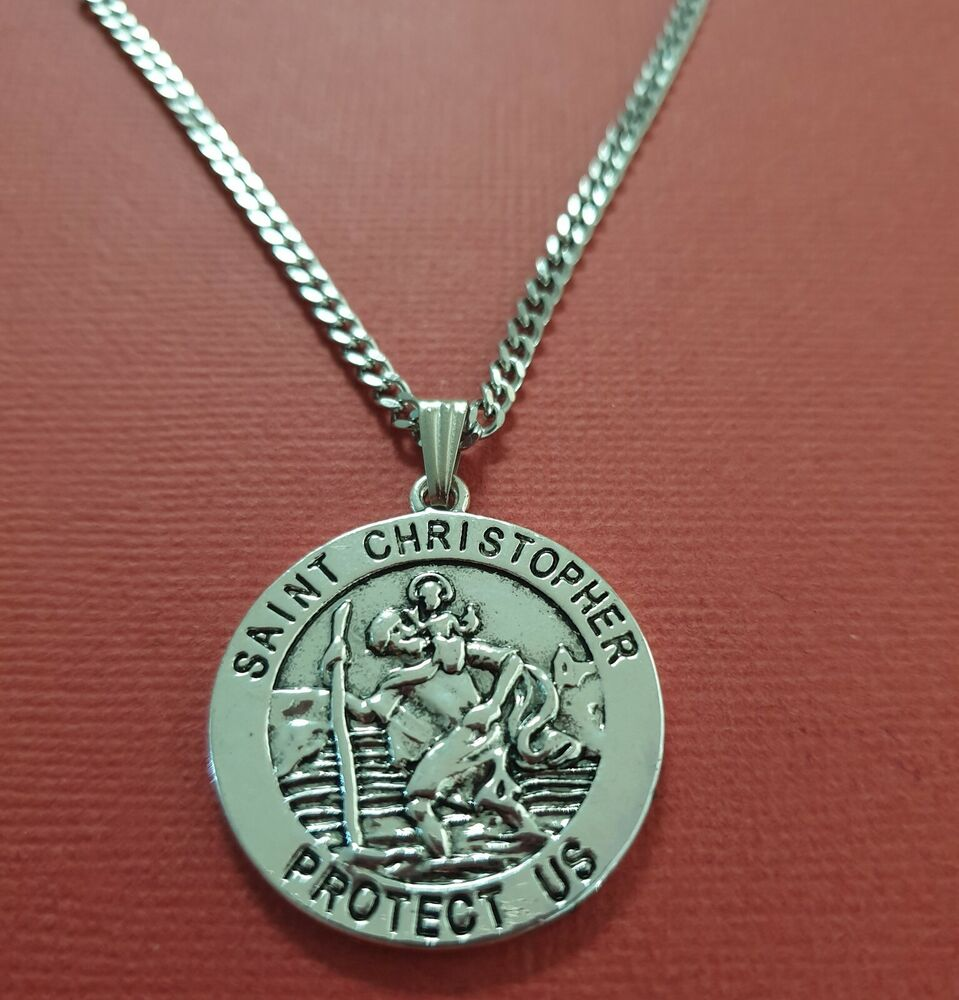 St Christopher Necklace Stainless Steel Chain Patron Saint