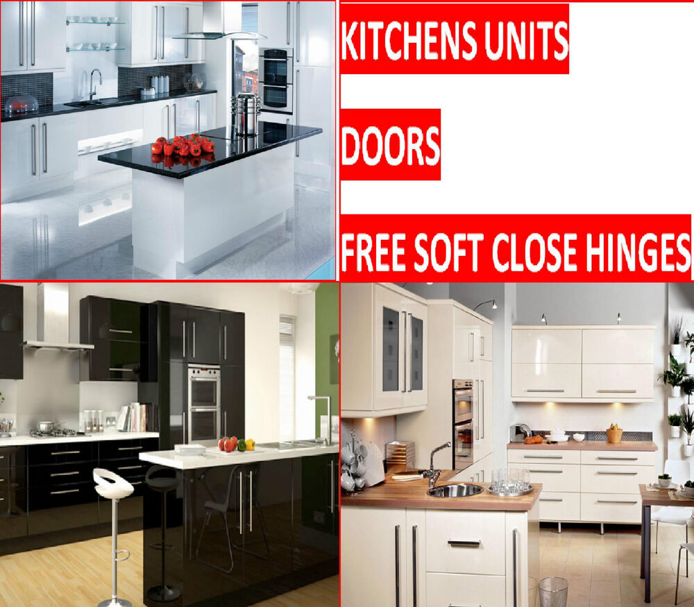 Complete kitchen units with gloss doors ebay for 200mm kitchen wall unit