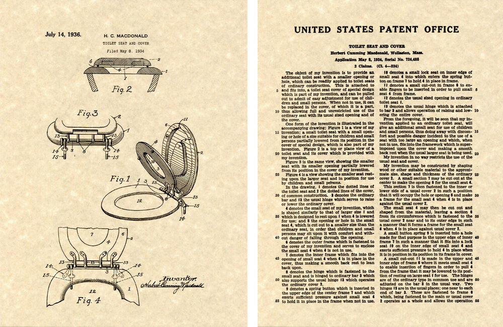 Toilet Seat Cover Us Patent Art Print Ready To Frame