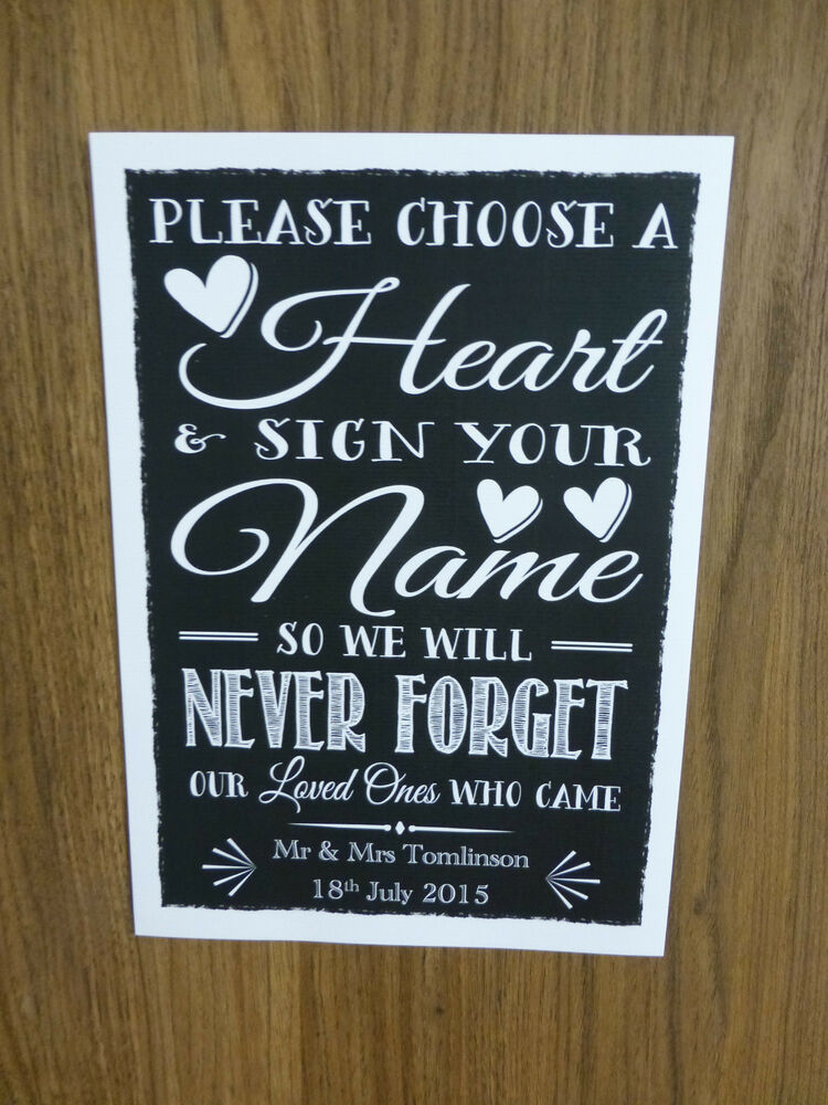Wedding Heart Signing Print Instructions Guest Book