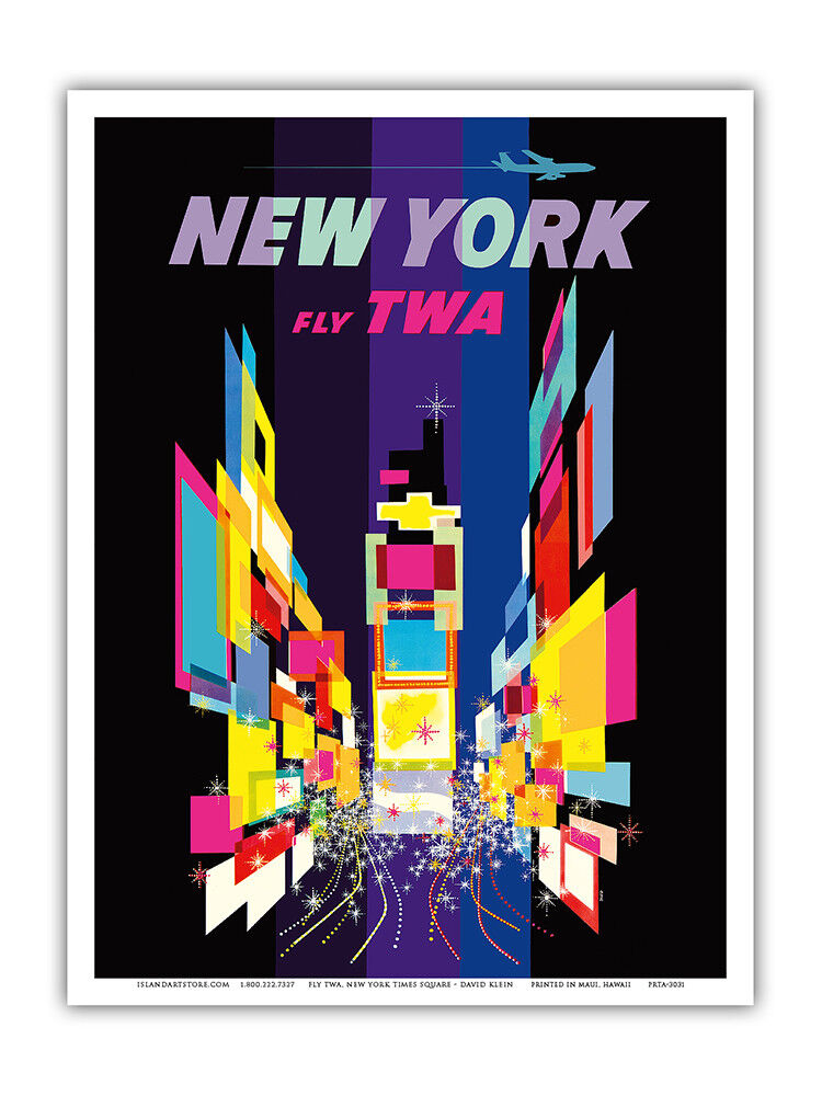 new york city times square twa vintage art poster print ebay. Black Bedroom Furniture Sets. Home Design Ideas