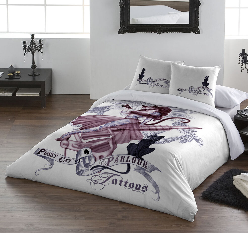 Pussy cat parlour duvet cover set by ul13 alchemy uk for Tattoo bedding queen