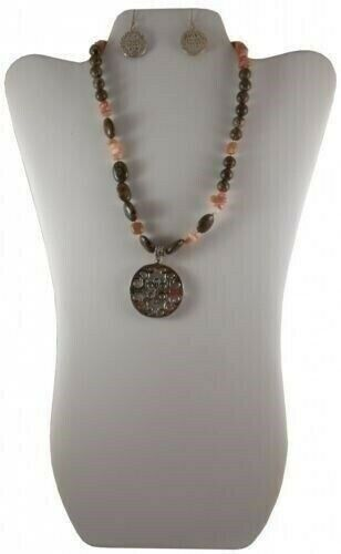 Barse Silver Pink And Brown Stone Necklace Earrings And
