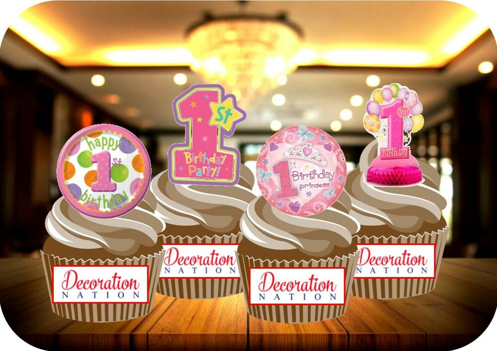 Edible Cake Images 1st Birthday : NOVELTY 1ST BIRTHDAY MIX 12 STANDUPS Edible Cake Toppers ...
