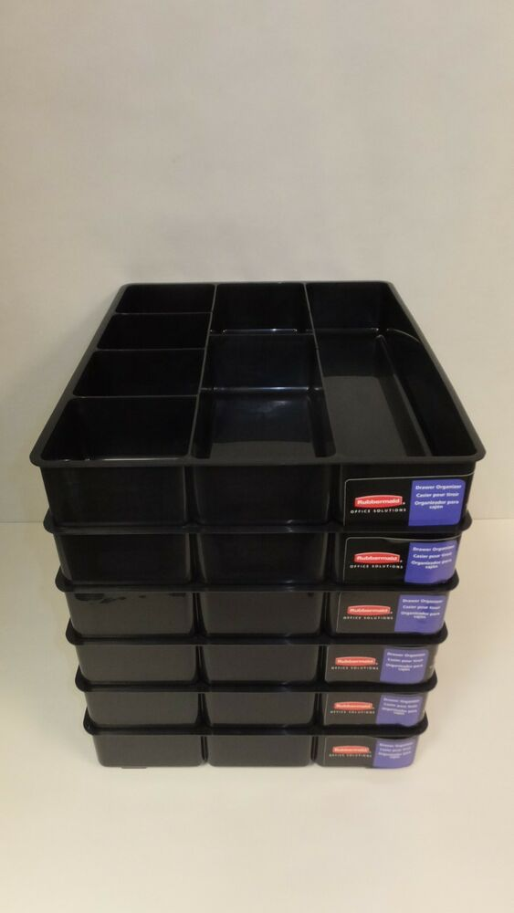 case of 6 rubbermaid drawer organizers extra deep desk