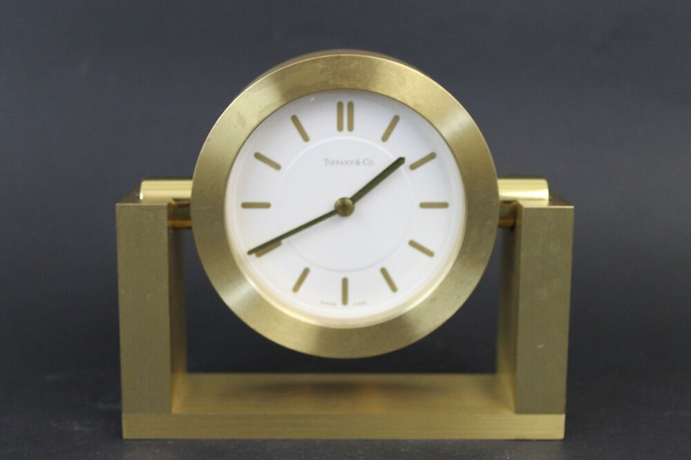 Vintage Tiifany & Co. in Brass Swiss Made Mantle Clock