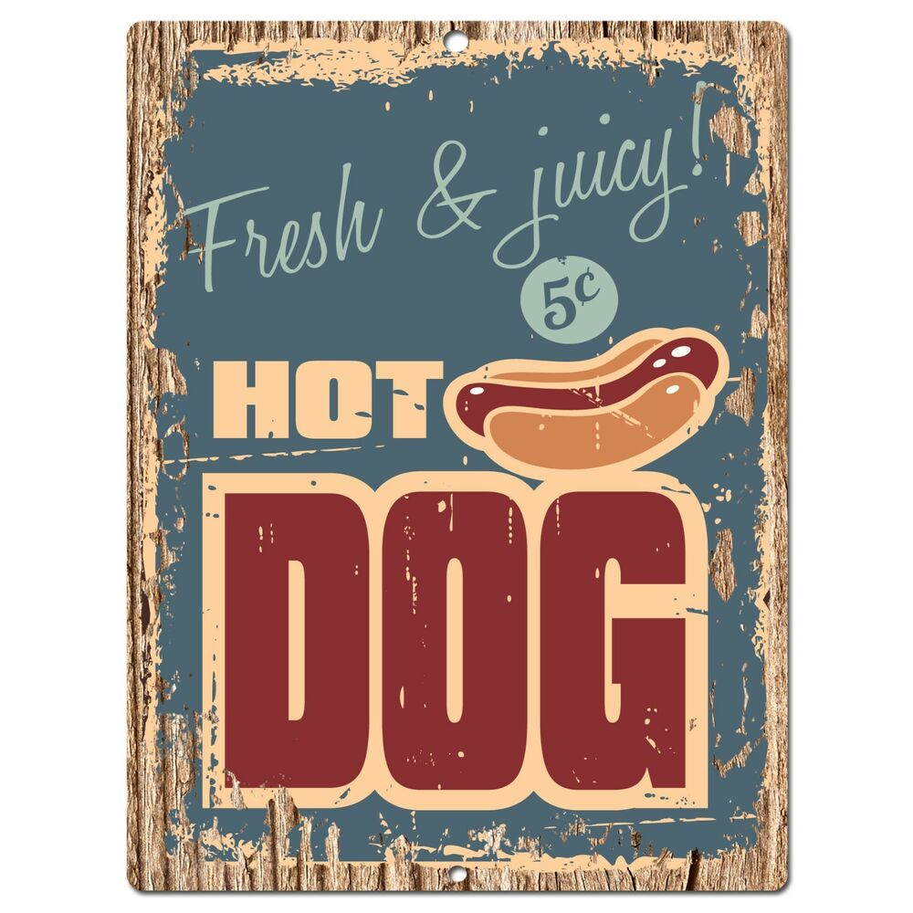 Kitchen Signs Ebay: PP0391 Rust HOT DOG Plate Sign Bar Store Shop Cafeteria