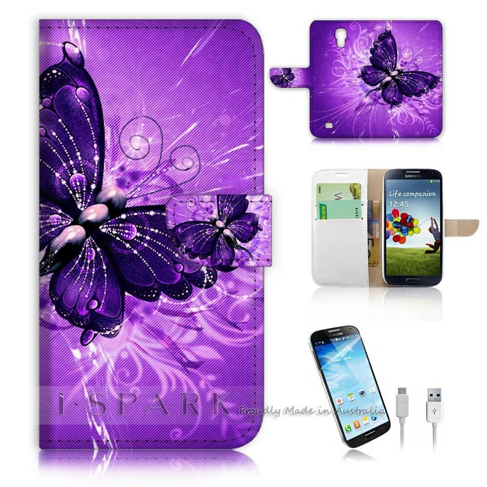 Samsung Galaxy S4 Flip Wallet Case Cover! S8184 Purple ...